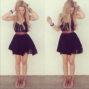 Haute Society Dresses - Beautiful black lace inset slip dress